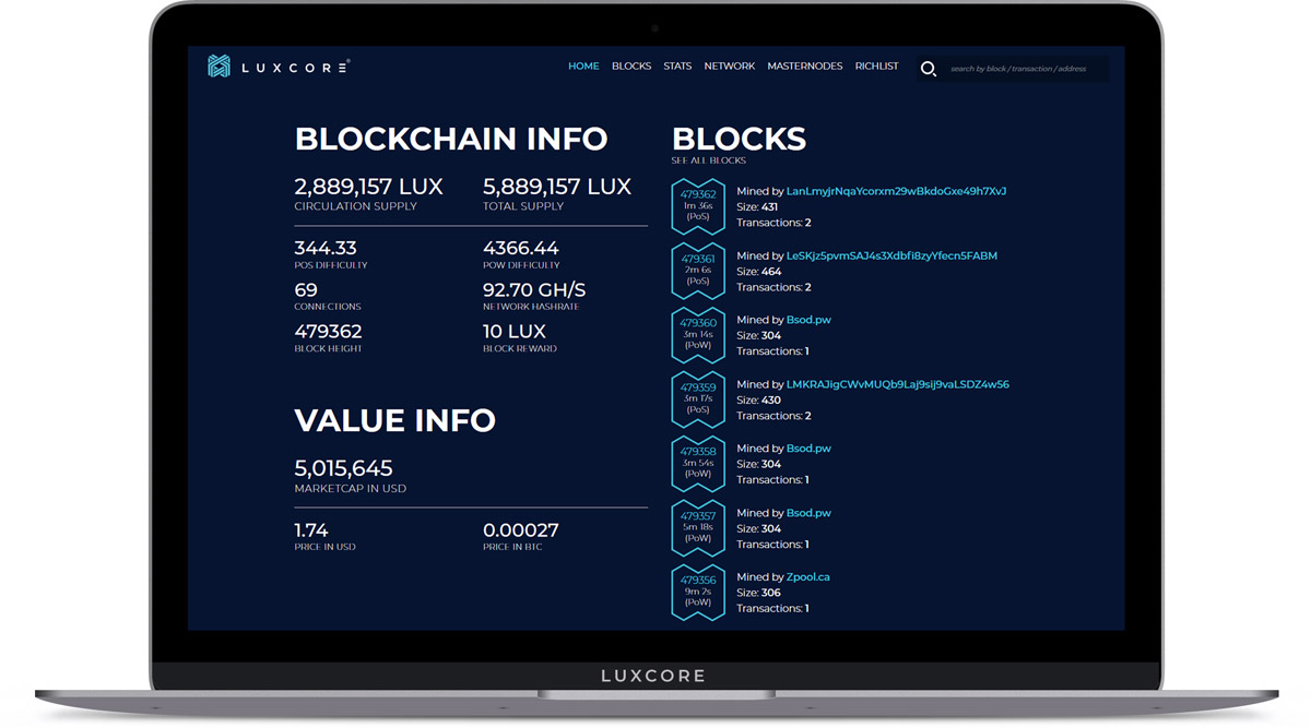 Luxcore - Luxcore's New Blochchain Explorer